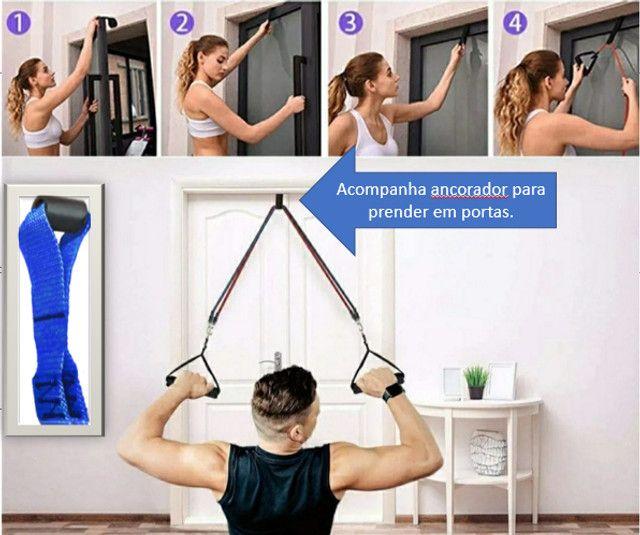 Kit 16 Peças 06 Elásticos Extensores Musculação Pylates CrossFit Funcional - Foto 4