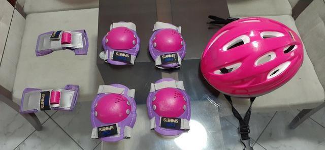 Kit Bike Infantil Rosa - Capacete + Cotoveleira + Joelheira + Munhequeira