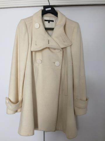 Casaco 7 8 de lã na cor nude marca Zara tamanho M cfc5a6b71c