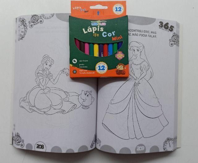 Livro Para Colorir 365 Desenhos Disney + Lápis De Cor - Foto 3