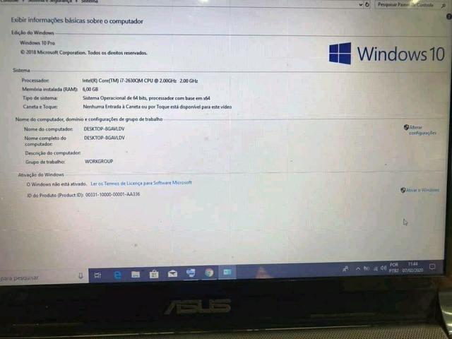 Vendo notebook Asus 6 de RAM i7 500 de HD funciona na tom