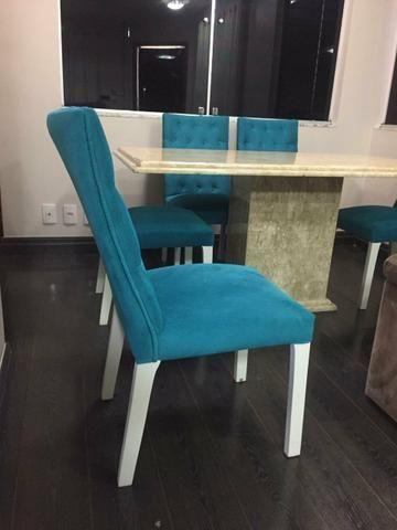 Mesa 1,60 x 90cm com 6 cadeiras capitonê, alto padrão - Foto 5