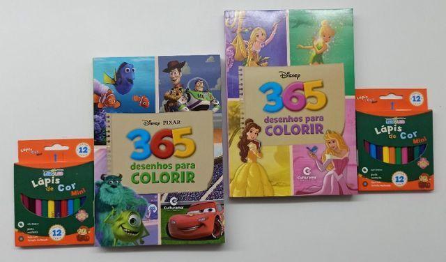 Livro Para Colorir 365 Desenhos Disney + Lápis De Cor - Foto 2