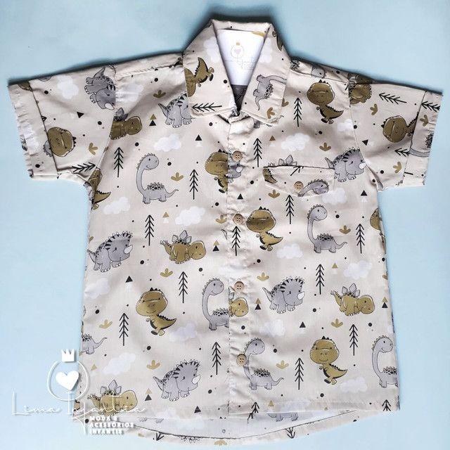 Camisa Social - Dinossauros - 4 anos.  - Foto 2