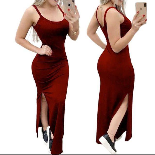 Lindo vestido longo canelado - Foto 3