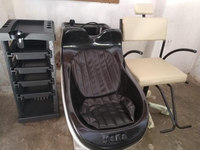 Kit novo completo de cabeleireiro lavatório cadeira e carrinho auxiliar - Foto 6