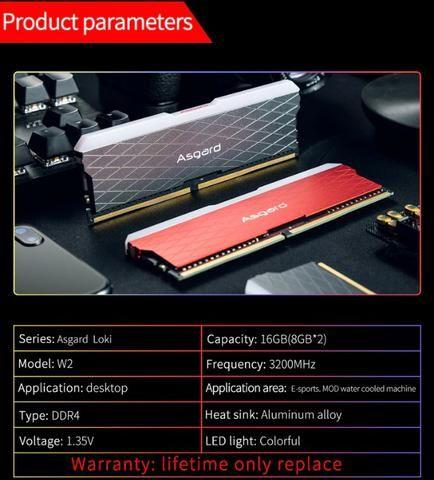 Memória RAM Asgard 16 GB (2x8 GB) 3200 Mhz