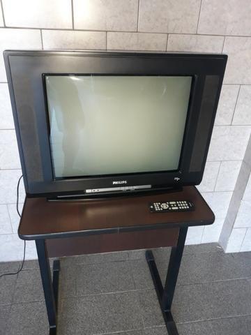 "Televisor Phillips tubo 21"" tela plana Stereo com controle"