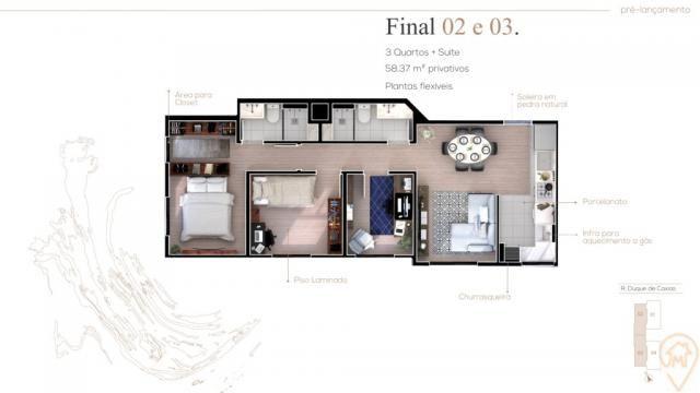 Apartamento à venda com 3 dormitórios em Bom jesus, Sao jose dos pinhais cod:90010.044 - Foto 2