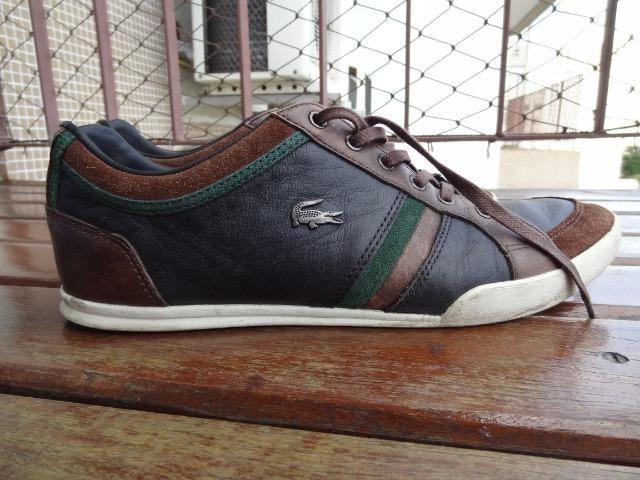 2bd386d0601 Sapatênis Lacoste Marrom Preto Verde Couro - Roupas e calçados ...