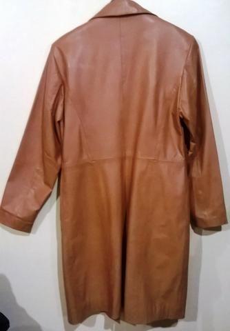 Sobretudo de couro legítimo, marrom, feminino, tamanho m - Foto 2