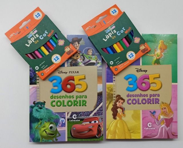 Livro Para Colorir 365 Desenhos Disney + Lápis De Cor