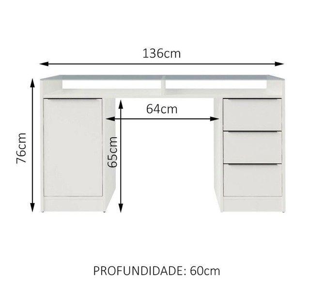Escrivaninha branca 1 porta e 3 gavetas - USADA - Foto 4