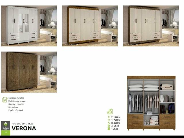 Roupeiro Verona 6 portas ( Entrega Grátis) - Foto 3