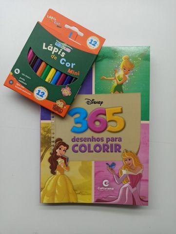 Livro Para Colorir 365 Desenhos Disney + Lápis De Cor - Foto 6