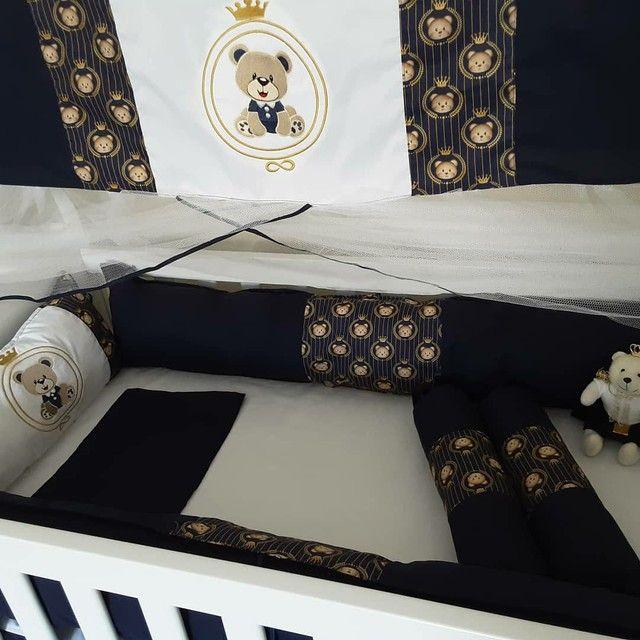 Kit berço ursinho príncipe com cortina