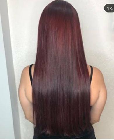 Mega pronto pra uso, metodo invisivel hair, vermelho marsala método adesivado