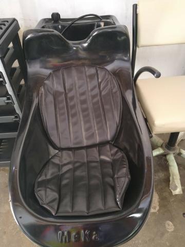 Kit novo completo de cabeleireiro lavatório cadeira e carrinho auxiliar - Foto 4