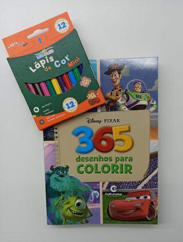 Livro Para Colorir 365 Desenhos Disney + Lápis De Cor - Foto 5