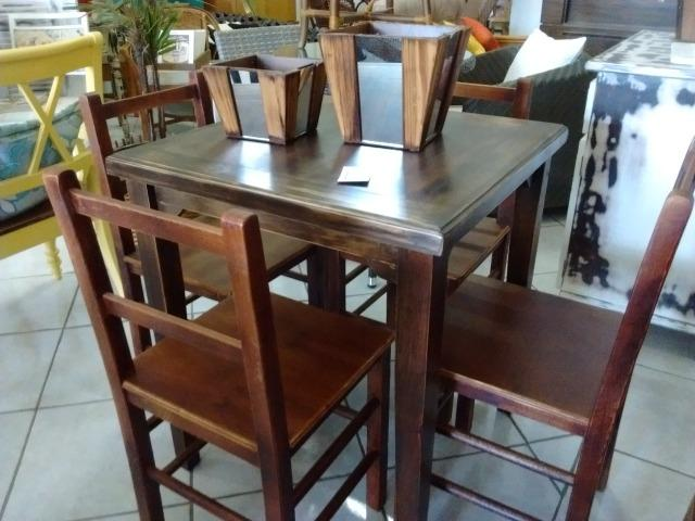 Mesa rústica para restaurante com 4 cadeiras - Foto 6