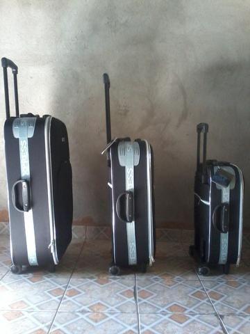 Conjunto Malas de viagem marca sp express na cor preta com faixa cinza nova