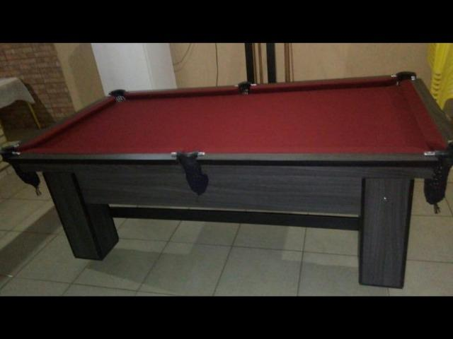 Mesa de Bilhar Cor Tabaco Tecido Bordo Redinhas Modelo CTH4787