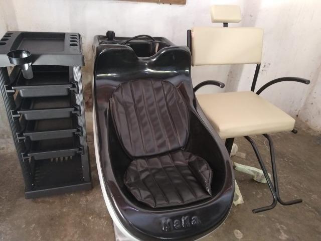 Kit novo completo de cabeleireiro lavatório cadeira e carrinho auxiliar
