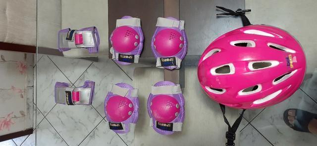 Kit Bike Infantil Rosa - Capacete + Cotoveleira + Joelheira + Munhequeira - Foto 2