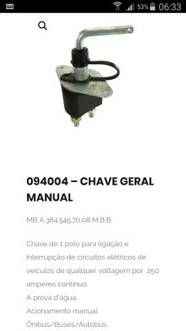 Chave geral manual cod. 094004
