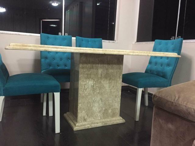 Mesa 1,60 x 90cm com 6 cadeiras capitonê, alto padrão - Foto 3