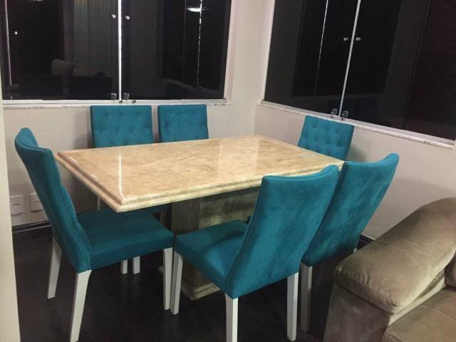 Mesa 1,60 x 90cm com 6 cadeiras capitonê, alto padrão - Foto 2