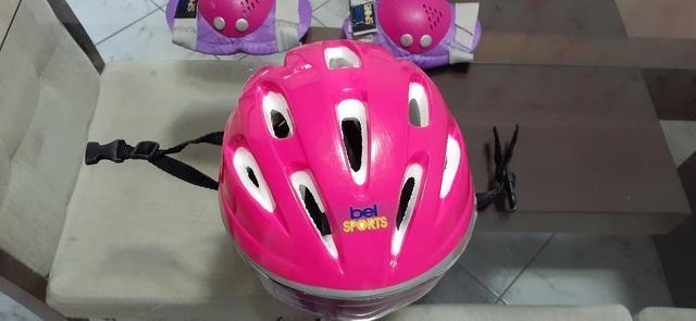 Kit Bike Infantil Rosa - Capacete + Cotoveleira + Joelheira + Munhequeira - Foto 3