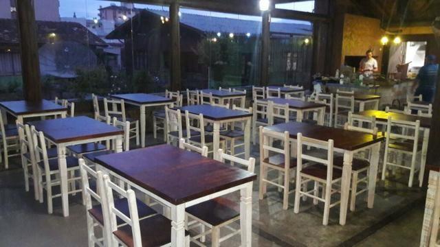 Mesa rústica para restaurante com 4 cadeiras - Foto 4