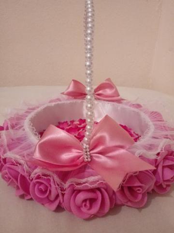 Cestinha rosa médio