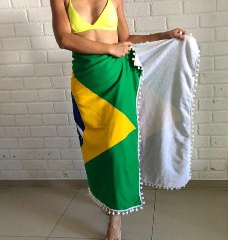 Canga De Praia Atoalhada Bandeira Do Brasil - Foto 5