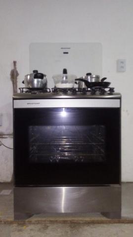 Fogão 6 bocas inox, elétrico, com forno grande