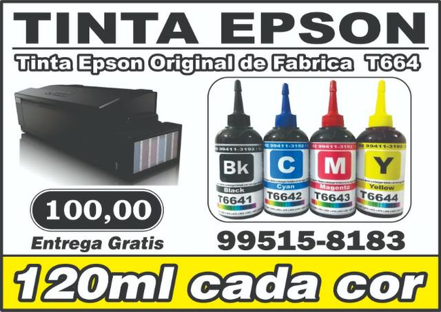 Tinta Epson T664 Kit c/ 4 cores, Black, Cyan, Magenta, Yellow 120ml cada cor