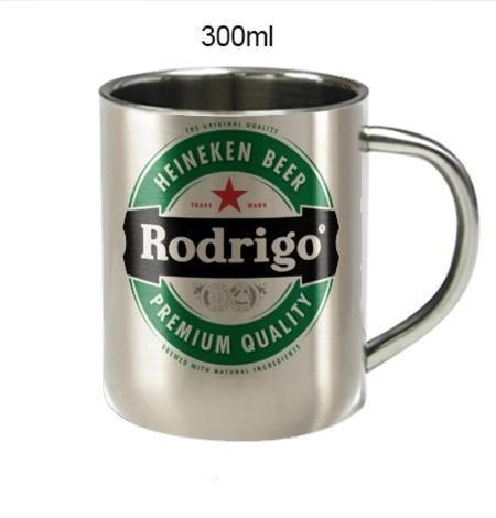 6d3862505 Caneca de Aço Inox Escovado 300ml Personalizado com foto tema time ...