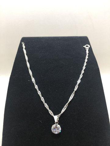 Pulseira em prata 925 trançada com pingente ponto de luz em prata 925 promoção  - Foto 4