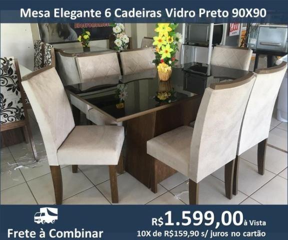 Mesa Elegante 6 Caderias Vidro Preto 90X90