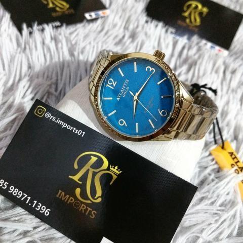Lindo Atlantis Feminino Gold Visor Azul (Garantia)