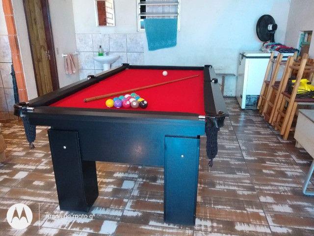 Mesa de Bilhar Preta Tx Tecido Vermelho Modelo HSD4695 - Foto 2