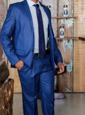 Terno slim corte italiano - poliviscose azul luxo Encerado - Foto 2