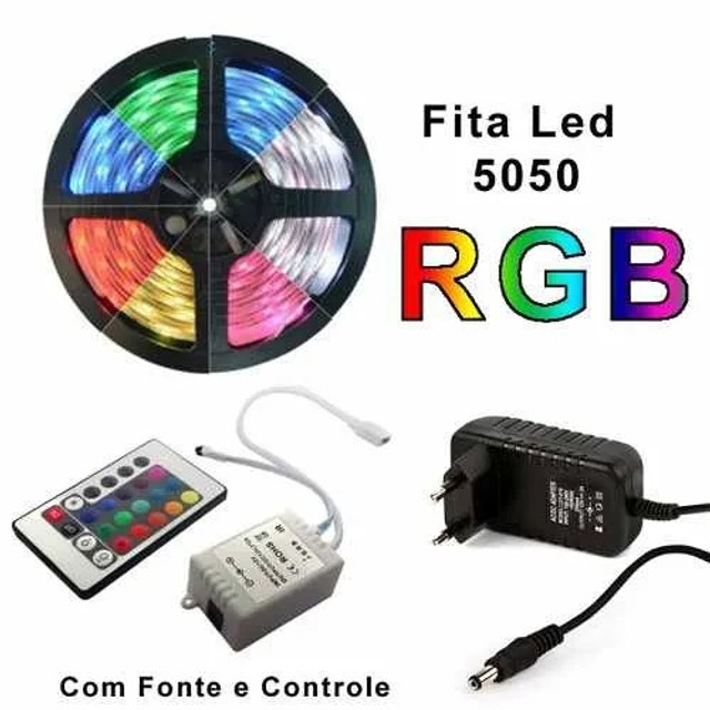 Fita Led RGB 5050 Rolo 5m 300 Leds com Controle Remoto