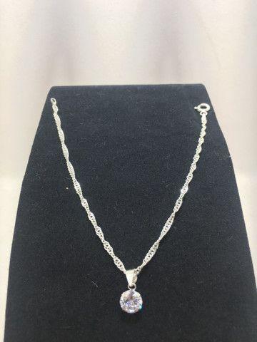 Pulseira em prata 925 trançada com pingente ponto de luz em prata 925 promoção  - Foto 3
