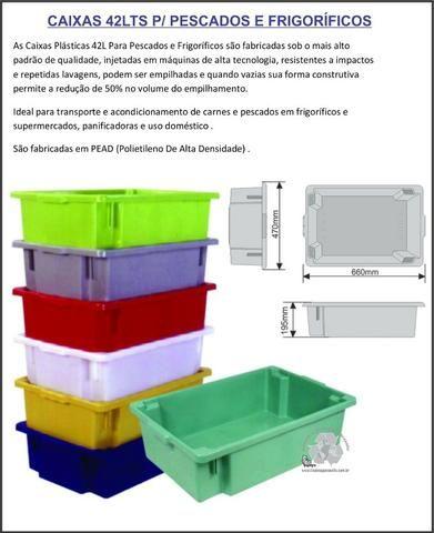 Caixas vazadas 46lts multiuso-caixas de mercado uso em geral - Foto 3