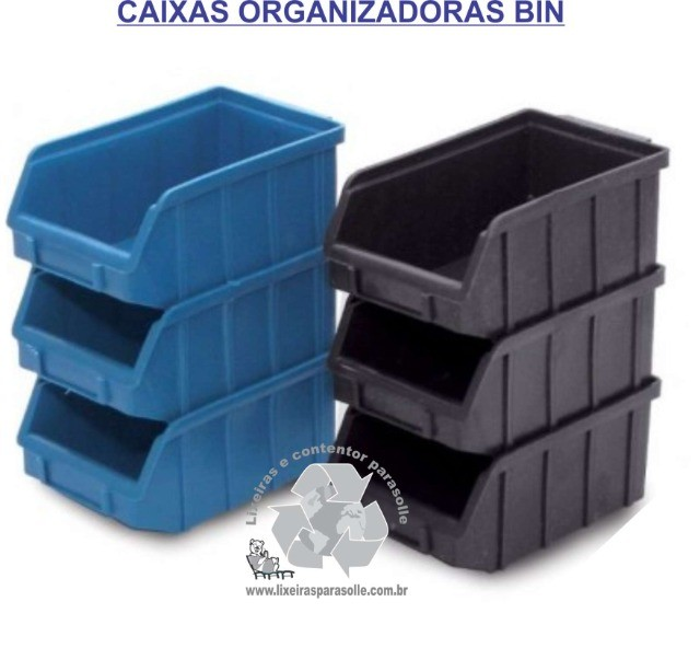 Caixa Plastica Organizadora BIN3 cor preta - Foto 2