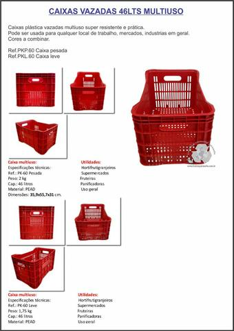 Caixas vazadas 46lts multiuso-caixas de mercado uso em geral - Foto 2