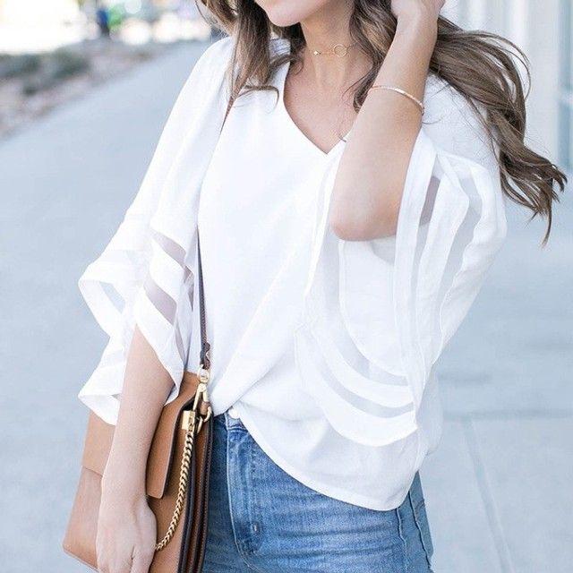 Blusa feminina com decote em V - Foto 3
