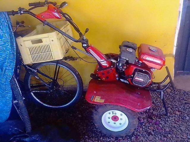 Motocultivador Kawashima + carretinha + implementos
